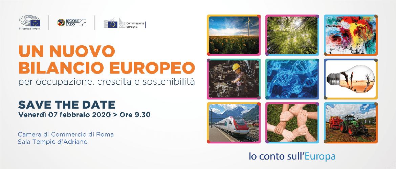 """SAVE THE DATE! Venerdì 7 Febbraio 2020 a Roma l'evento: """"Un nuovo bilancio europeo per occupazione, crescita e sostenibilità"""""""